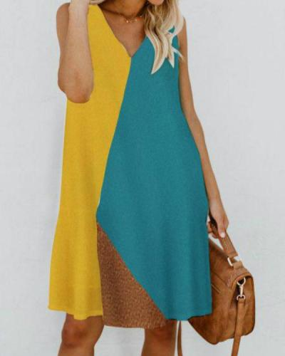 V Neck Women Summer Dresses Shift Daily Cotton-Blend Color-Block Dresses