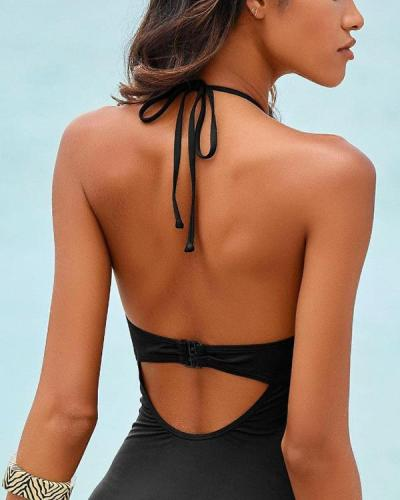 Halter Neck Hollow Out Solid Color One-piece Swimwear