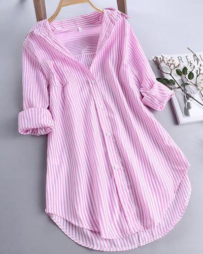 Chic Stripe Long Sleeve Turn-down Collar Loose Shirts