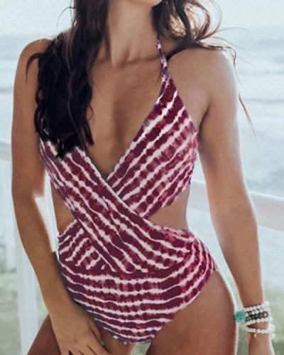 Halter Tie Dye One Piece Swimsuit