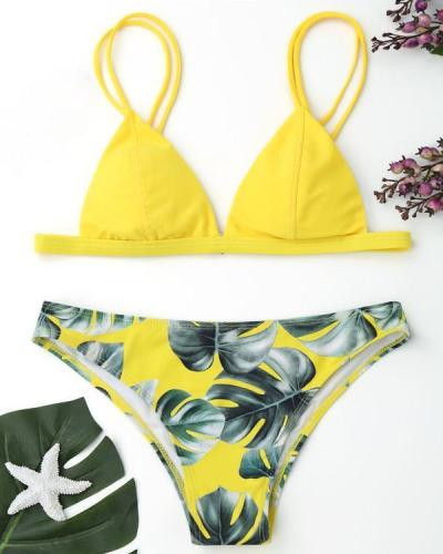 Women Leaves Printed Bikini Set Two Piece Swimsuits