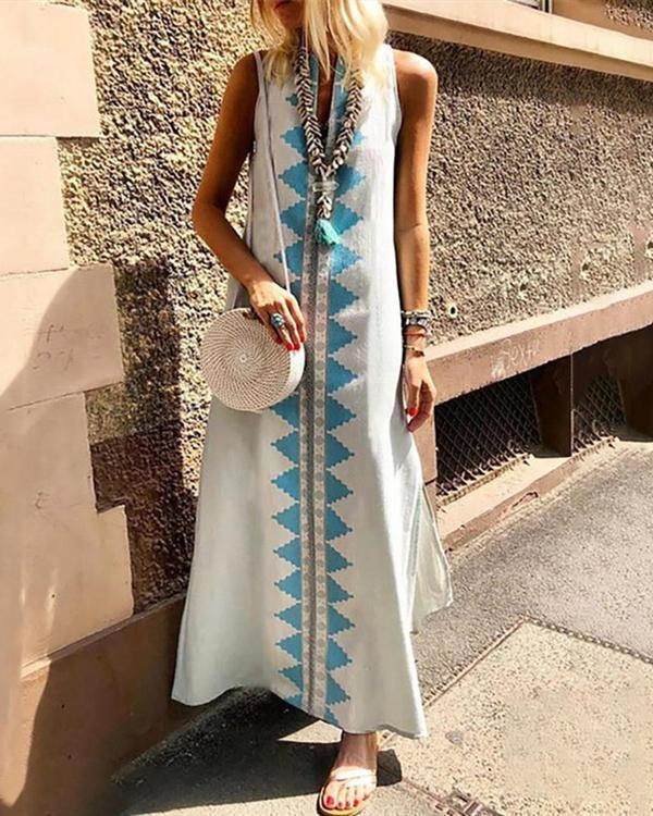 Casual Sexy Sleeveless Cotton National Style Printing Maxi Dresses