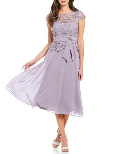 Women's Elegant Solid Lace Chiffon Mini Dress