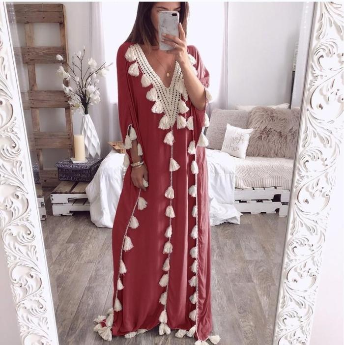V Neck Tassels Bohemian Half Sleeve Maxi Dresses