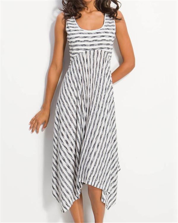 Women Midi Stripes Dresses A-Line Daily Cotton-Blend Printed Dresses