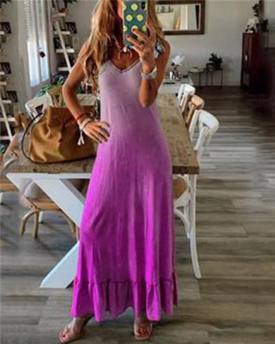 Sleeveless Gradient Beach Holiday Daily Fashion Maxi Dresses