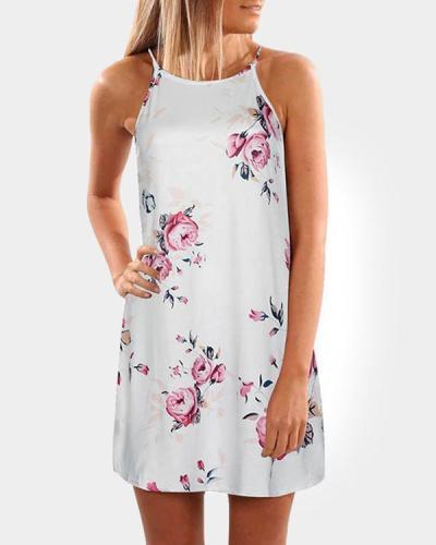 Pink Random Floral Print Sleeveless Mini Dress