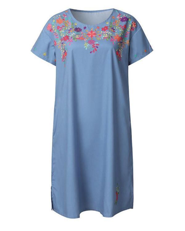 Embroidery Oversized Women Fashion Casual Mini Dresses