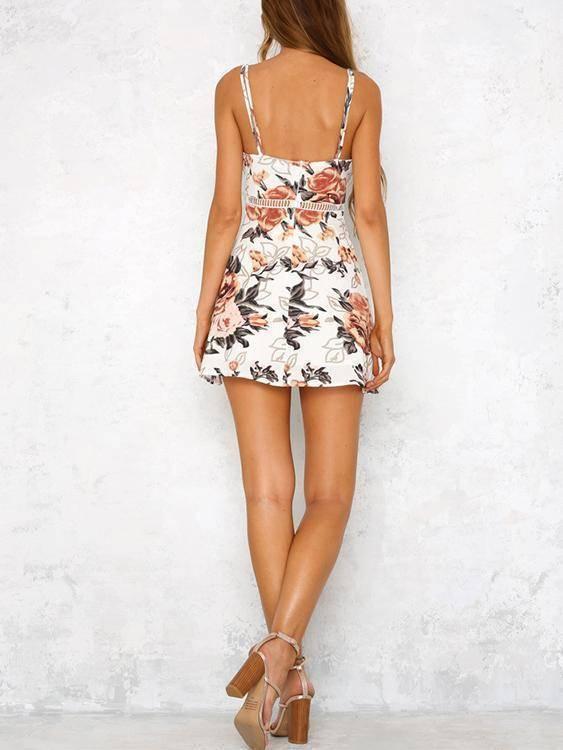 Random Floral Print Hollow Dresses