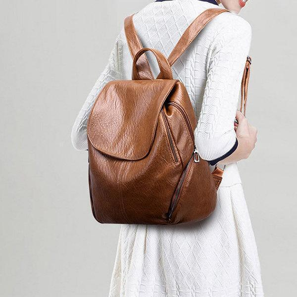Women Leisure Solid Large Capacity Casual Backpack
