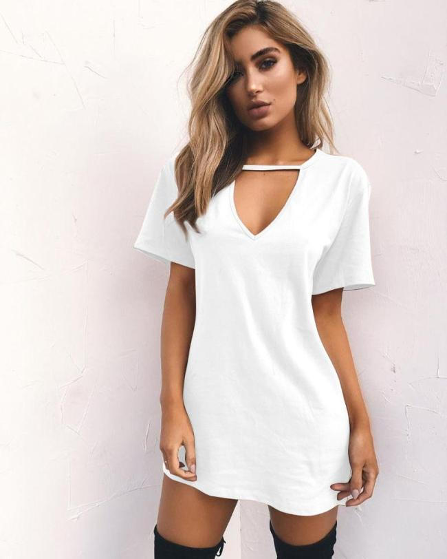 White V-neck Short Sleeves T-shirt Dresses