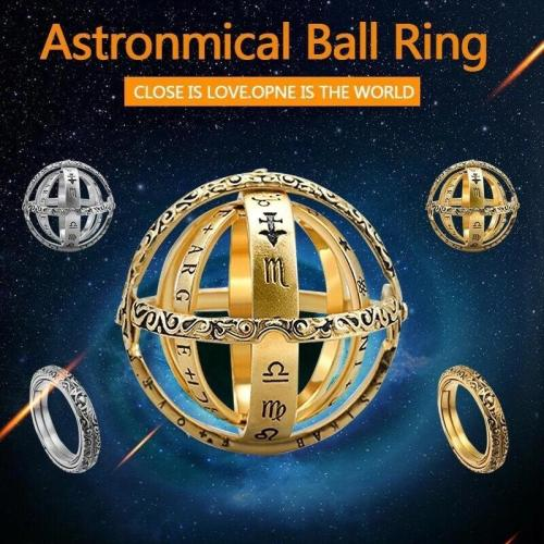 Astronomical Ring - Ring That Folds Out To an Astronomical Sphere With Chain