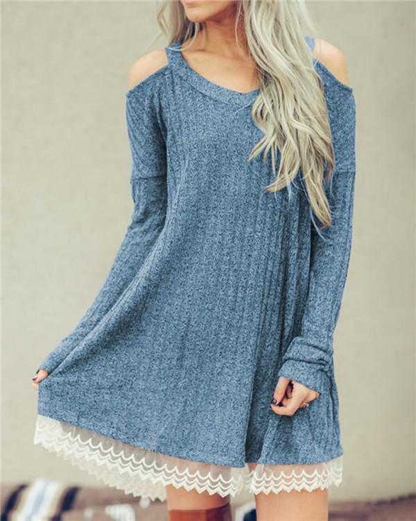 Fall Solid Lace Edge Long Sleeve Women's Mini Dress