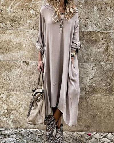 Channel Three Quarter Ankle Asymmetric Pure Color Asymmetrical Dress