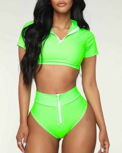 Zip Front Short Sleeve Bikini