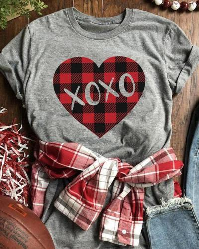 Valentine Plaid Splicing Xoxo Heart T-Shirt Tee