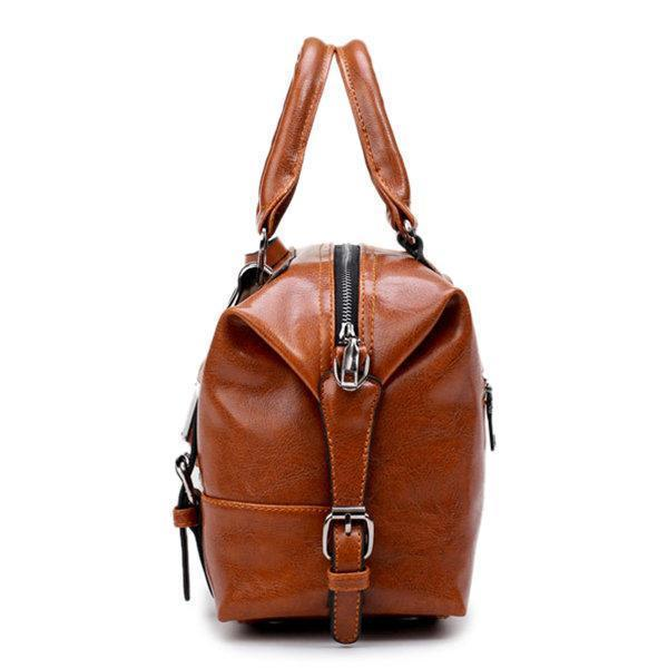 Vintage PU Leather Boston Handbag Shoulder Bag Crossbody Bag