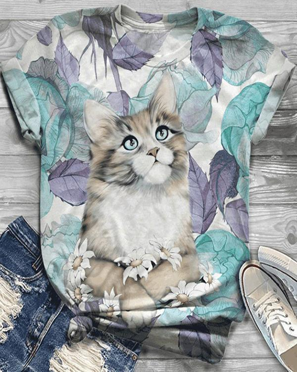 Plus Size Animal Printed Short Sleeve Crew Neck Casual Shirts & Tops