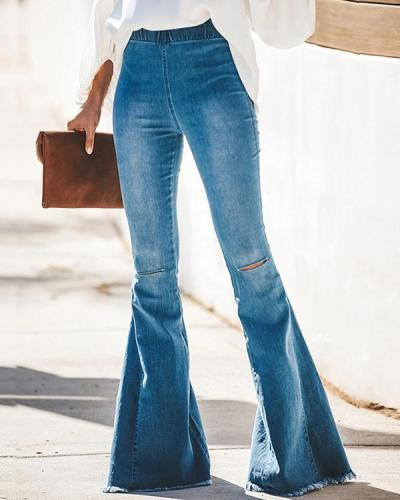 Blue Ripped Denim Bootcut Jeans