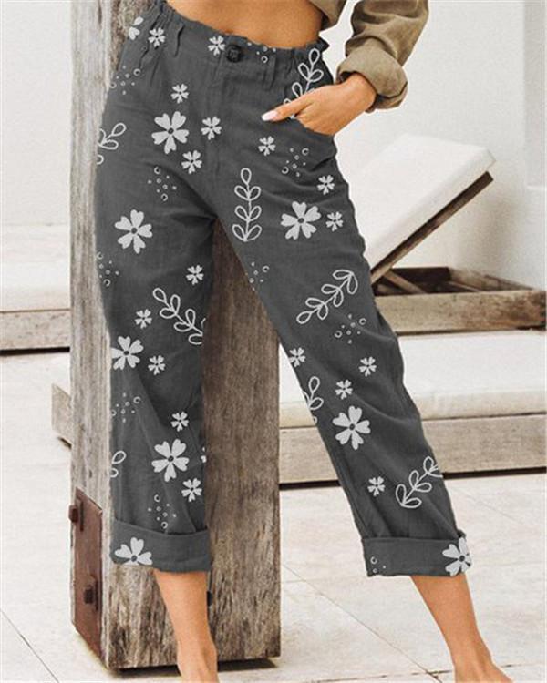 Casual Print Loose Pockets Pants