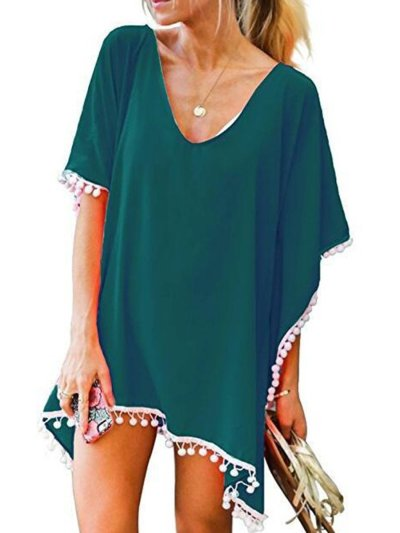 16 Kinds of Pure Color Fringed Beach Swimwear Cover Ups
