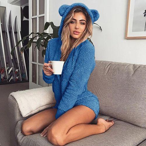 Plus Size Cute Rabbit Ears Warm Pajamas Rompers Hoodie Sleepwear