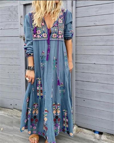 Bohemian Floral Printing Long Sleeve Maxi Dresses
