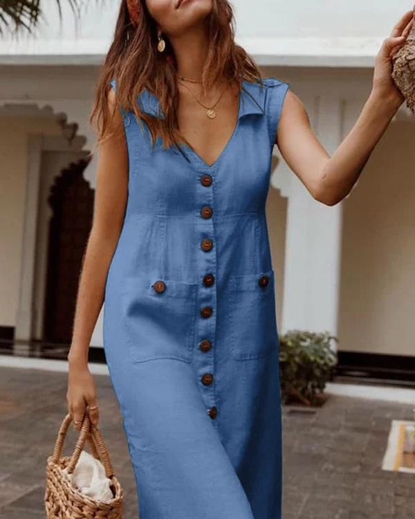 Plus Size Casual Solid Sleeveless V Neck Pockets Midi Dresses