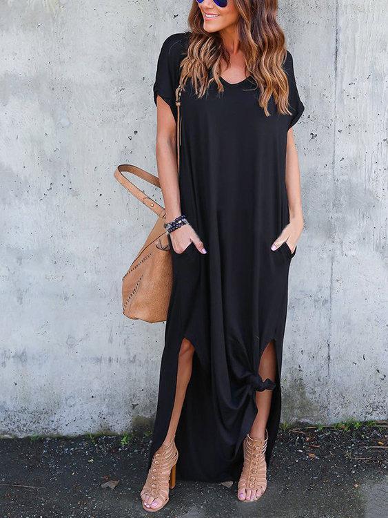 Cozy Oversize Slit Hem Maxi Dresses
