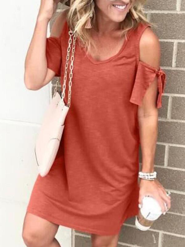 Paneled V Neck Off Shoulder Casual Mini Dress