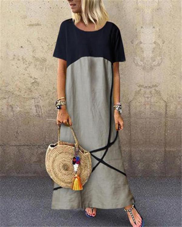Fashion Crew Neck Short Sleeve Maxi Dress