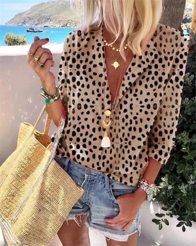 Leopard Long Sleeve Fashion Casual Daily Women Blouse