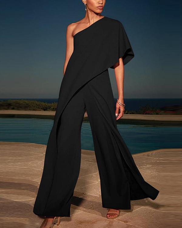 One Shoulder Solid High Waist Wide Leg Black Elegant Jumpsuit