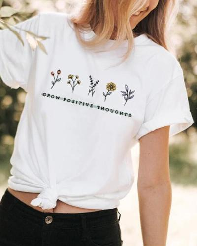 Casual Floral Printed Short Sleeve T-shirt