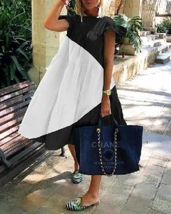 Paneled Color-block Pleated Bell Sleeves Holiday Midi Dress