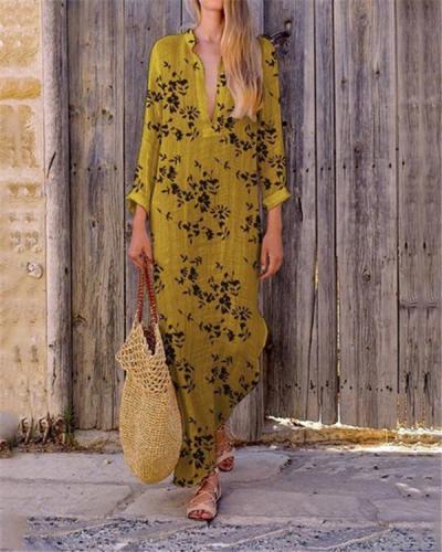 Long Sleeve Bohemian V Neck Maxi Dress