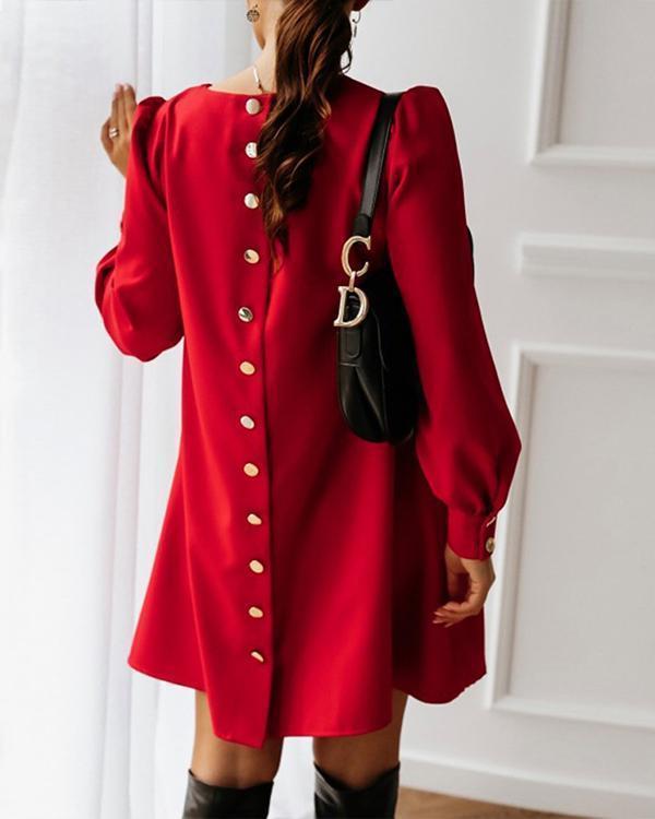 Elegant Women Metal Buttoned Mini Dress Casual Spring O Neck Party Dress