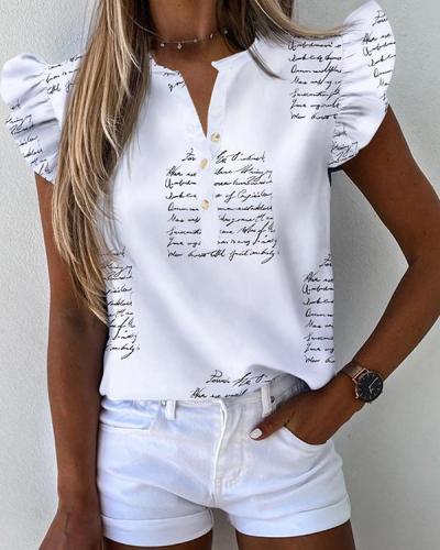 Letter Pattern Print Ruffles Sleeve Casual Shirt Top