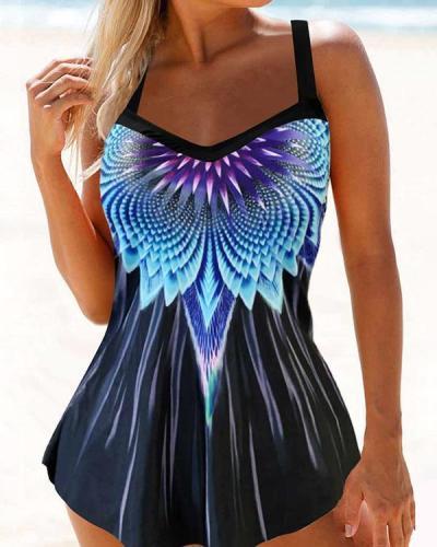 Plus Size Gradient Color Print Tankini Swimsuit