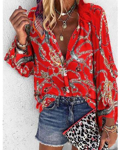 2019 Autumn and Winter New Printing Stand Collar Long-sleeved Casual Blouse