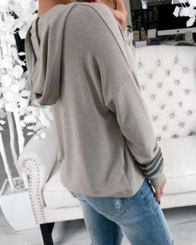 Casual Hooded Striped Long Sleeve Sweatshirt