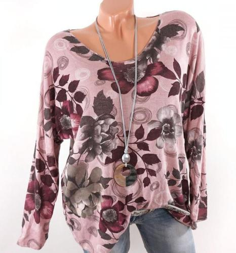 Floral Print Crew Neck Long Sleeve Casual T-shirts Tops