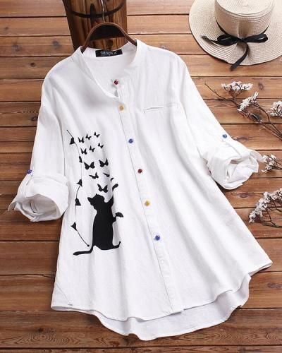 Cat Print Long Sleeve Blouse Colorful Button Shirt