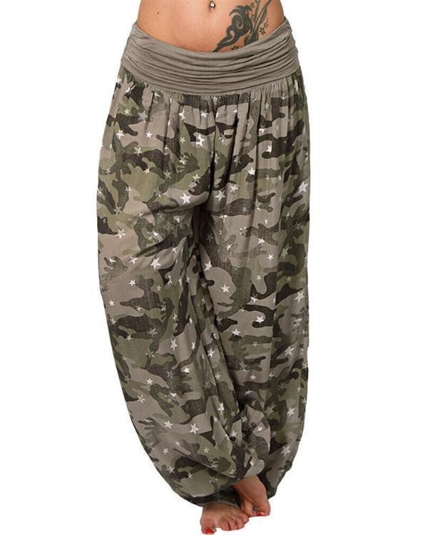 Fashion Plus Size Printed Casual Wide Leg Pants