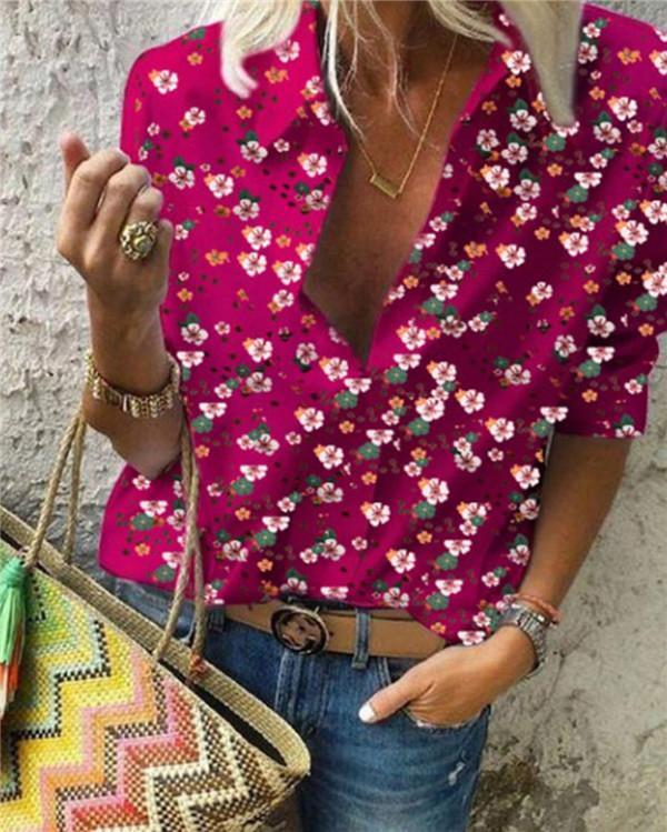 Floral Bohemian Long Sleeve Summer Women Holiday Daily Blouse