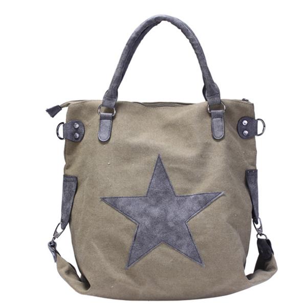Pentagram Outdoor Casual Canvas Large Capacity Shoulder Bag  Handbag