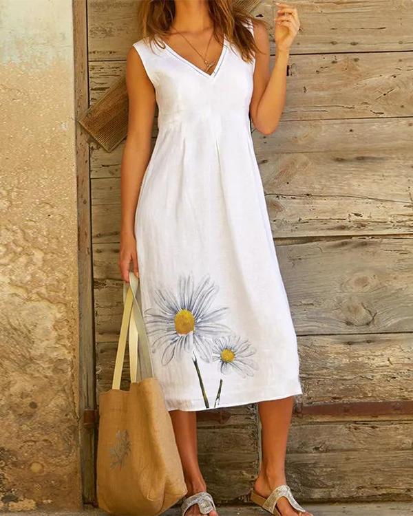 V-neck Casual Daisy Print Sleeveless A-line Midi Dress