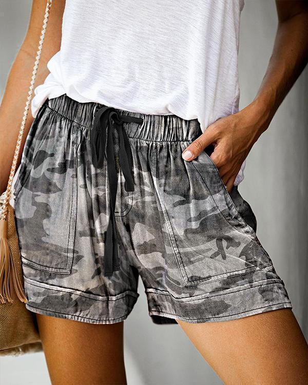 Elastic High Waist Printed Pocketed Adjustable Rope Pants