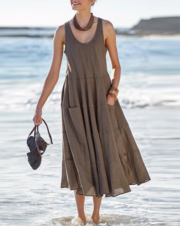 Paneled Solid Pockets Sleeveless Casual Midi Dress