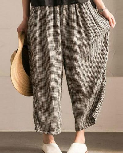 Casual Pockets Linen Gingham Pants